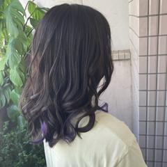 大人かわいい インナーラベンダー インナーカラー ブルーラベンダー ヘアスタイルや髪型の写真・画像