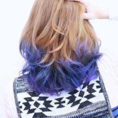 ブルー 透明感 グラデーションカラー ストリート ヘアスタイルや髪型の写真・画像
