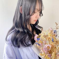 前髪あり 韓国ヘア セミロング シースルーバング ヘアスタイルや髪型の写真・画像