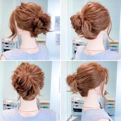 フェミニン ロング ロングヘア お団子ヘア ヘアスタイルや髪型の写真・画像