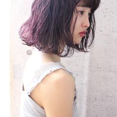 ナチュラル ピンク ボブ ラベンダーピンク ヘアスタイルや髪型の写真・画像