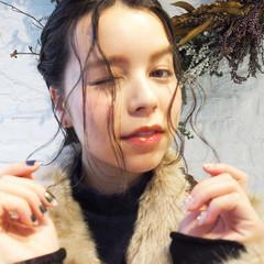 後れ毛 束感 簡単ヘアアレンジ ヘアアレンジ ヘアスタイルや髪型の写真・画像