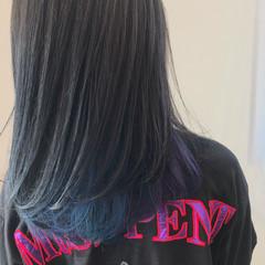 ブルー ロング グラデーションカラー モード ヘアスタイルや髪型の写真・画像