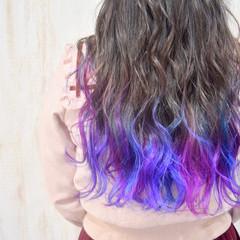 紫 フェミニン 裾カラー ロング ヘアスタイルや髪型の写真・画像