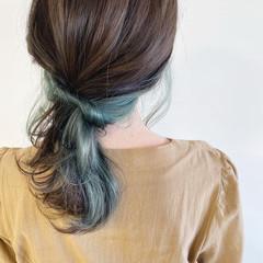 ポニーテールアレンジ ヘアアレンジ ナチュラル セミロング ヘアスタイルや髪型の写真・画像