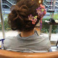 結婚式 セミロング 着物 ヘアアレンジ ヘアスタイルや髪型の写真・画像