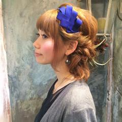 パーマ ハーフアップ ミディアム 簡単ヘアアレンジ ヘアスタイルや髪型の写真・画像