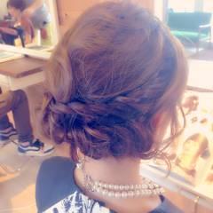 ヘアアレンジ パーティ ナチュラル 編み込み ヘアスタイルや髪型の写真・画像