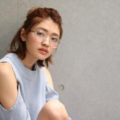 ヘアアレンジ ミディアム ガーリー ハーフアップ ヘアスタイルや髪型の写真・画像
