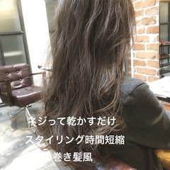ゆるふわパーマ グレージュ ロング デジタルパーマ ヘアスタイルや髪型の写真・画像