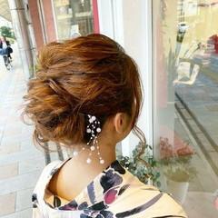 浴衣ヘア 浴衣アレンジ ミディアム ヘアアレンジ ヘアスタイルや髪型の写真・画像