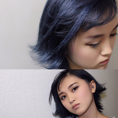 ストリート ボブ イルミナカラー ブルー ヘアスタイルや髪型の写真・画像