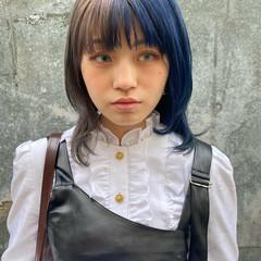 ネイビーブルー 派手髪 ネイビーカラー ミディアム ヘアスタイルや髪型の写真・画像