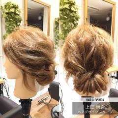 セミロング ローポニーテール 大人かわいい くるりんぱ ヘアスタイルや髪型の写真・画像