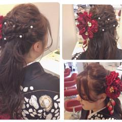 ハーフアップ 袴 黒髪 ロング ヘアスタイルや髪型の写真・画像