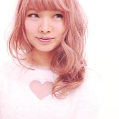ベージュ ガーリー ピンク ピンクアッシュ ヘアスタイルや髪型の写真・画像