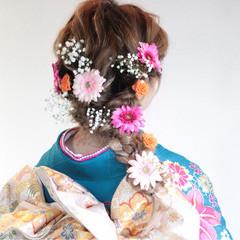 着物 ロング 成人式 編み込み ヘアスタイルや髪型の写真・画像