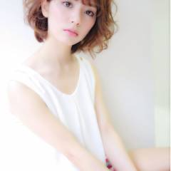ゆるふわ 愛され ミディアム フェミニン ヘアスタイルや髪型の写真・画像