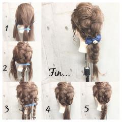 簡単ヘアアレンジ セミロング ショート 三つ編み ヘアスタイルや髪型の写真・画像