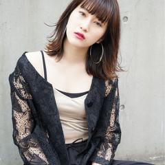 暗髪 外ハネ モード 黒髪 ヘアスタイルや髪型の写真・画像