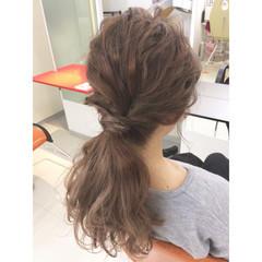 ショート セミロング ポニーテール 簡単ヘアアレンジ ヘアスタイルや髪型の写真・画像