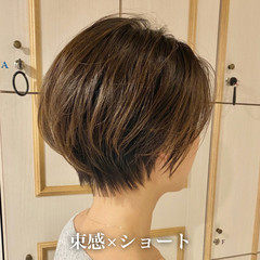 小顔ショート ナチュラル 簡単ヘアアレンジ ショートヘア ヘアスタイルや髪型の写真・画像