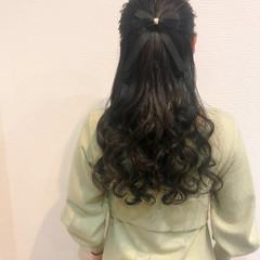 ロング ヘアセット ハーフアップ 結婚式 ヘアスタイルや髪型の写真・画像
