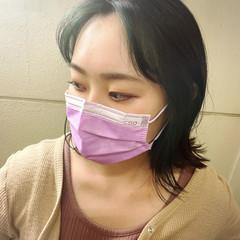 切りっぱなしボブ 韓国風ヘアー インナーカラー ボブ ヘアスタイルや髪型の写真・画像