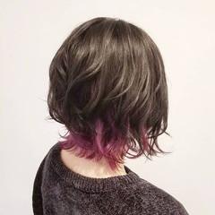ボブ ストリート パープル アンニュイほつれヘア ヘアスタイルや髪型の写真・画像