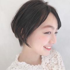 ショートバング ハンサムショート ショートボブ パーマ ヘアスタイルや髪型の写真・画像