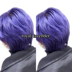ショート ストリート ブルーラベンダー メンズカラー ヘアスタイルや髪型の写真・画像