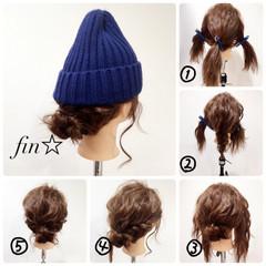 セミロング 簡単ヘアアレンジ ヘアアレンジ ニット ヘアスタイルや髪型の写真・画像