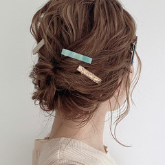 抜け感 アップスタイル ナチュラル ミディアム ヘアスタイルや髪型の写真・画像