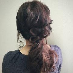 フェミニン 結婚式 ロング ヘアアレンジ ヘアスタイルや髪型の写真・画像