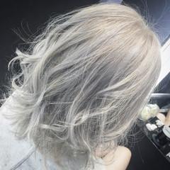 ミディアム 外国人風 ハイライト アッシュ ヘアスタイルや髪型の写真・画像