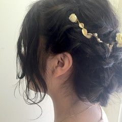 ねじり ゆるふわ セミロング 編み込み ヘアスタイルや髪型の写真・画像