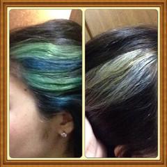 ストリート グリーン シルバー ブルー ヘアスタイルや髪型の写真・画像