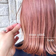 外ハネ ピンク ボブ フェミニン ヘアスタイルや髪型の写真・画像