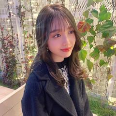 透明感カラー 韓国ヘア 暗髪 ナチュラル ヘアスタイルや髪型の写真・画像