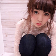 暗髪 セミロング 小顔 ヘアアレンジ ヘアスタイルや髪型の写真・画像