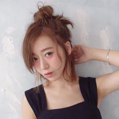 外国人風 ミディアム ハーフアップ 渋谷系 ヘアスタイルや髪型の写真・画像