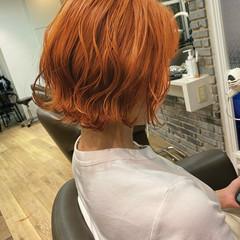 ブラットオレンジ ダブルカラー オレンジ ショート ヘアスタイルや髪型の写真・画像