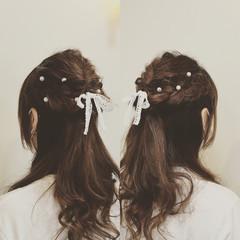 編み込み パーティ ハーフアップ 結婚式 ヘアスタイルや髪型の写真・画像