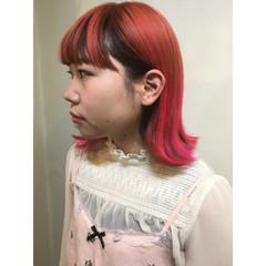 ボブ ショート マッシュ ピンク ヘアスタイルや髪型の写真・画像