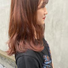 オレンジブラウン アプリコットオレンジ オレンジ ナチュラル ヘアスタイルや髪型の写真・画像