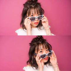 ミディアム ハーフアップ ヘアアレンジ シースルーバング ヘアスタイルや髪型の写真・画像