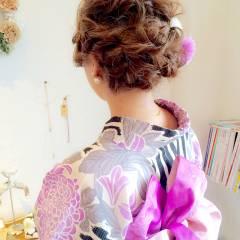 ヘアアレンジ 編み込み 夏 和装 ヘアスタイルや髪型の写真・画像