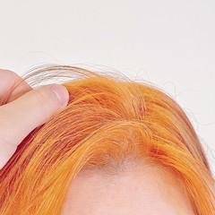 ボブ オレンジカラー アプリコットオレンジ ナチュラル ヘアスタイルや髪型の写真・画像