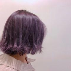外ハネボブ パープル 外国人風カラー パープルカラー ヘアスタイルや髪型の写真・画像