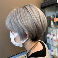 グレージュ 外国人風カラー ナチュラル ショートボブ ヘアスタイルや髪型の写真・画像